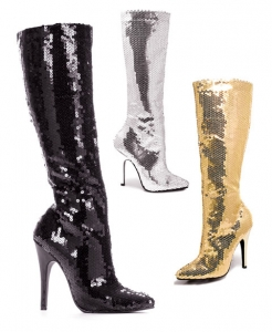 511-Tin Ellie Boots, 5 inch high heels Sequins Zipper Knee High Boots