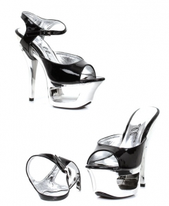 604-Shera Ellie Shoes 6 Inch Chrome Stiletto High Heels Platform Shoes