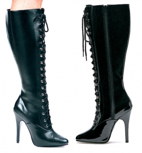Victoria Ellie Boots, 5 inch high heels Lace up, Zipper Knee High