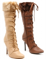433-Viking Ellie Boots, 4 inch heels with Fur and zipper Knee High Se