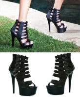 609-Noir Ellie Shoes, 6 Inch Pointed Stiletto High Heels Studs Shoes