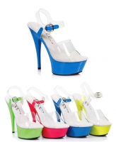 609-Roxy Ellie Shoes, 6 Inch Neon Stiletto High Heel Platform Sandals
