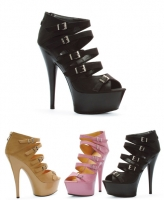 609-Una Ellie Shoes 6 Inch Stiletto Heels Buckle Platform  Sandal