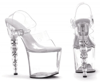 757-Brook Ellie Shoes, 7.5 inch Dice high heels Clear Platforms Ankle
