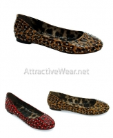 BP016-Penny Bettie Page Shoes, leopard ballet flat with studs shoes