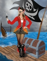7532 Dreamgirl Costume, Captain Hook Line and Sinker Long sleeve stre