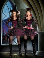 7583 Dreamgirl Costume, Night Crawlers Stretch knit jagged edge hem d