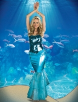 7609 Dreamgirl Costume, Sea Diva Strapless stretch paillette gown wit