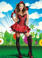 8228 Dreamgirl Costume, Just Buggin' Corset styled dress has  polka d