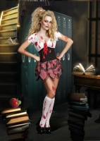 8416 Dreamgirl Costume, High School Schoolghoul Stretch knit blood sp