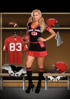 6471X Dreamgirl Costume, Touch Down, Stretch knit dress with football