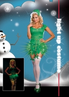 6549X Dreamgirl Costumes, Electric Elf, Shimmer microfiber dress with