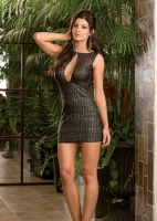 6361 Dreamgirl Clubwear, Microfiber with patterned gold foil dress wi