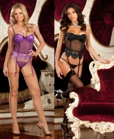 7345 Dreamgirl Lingerie, Stretch mesh lightly padded bustier with seq