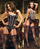 7892 Dreamgirl Corsets, Fully reversible leopard black corset with ce