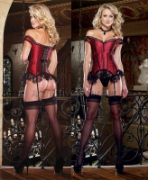 8048 Dreamgirl Corsets, Red satin with black lace overlay off the sho