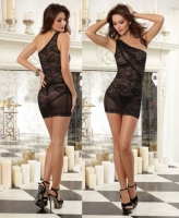 9680 Dreamgirl, Stretch lace asymmetrical one shoulder chemise