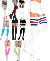 6605 Leg Avenue, 3 Stripes athletic ribbed thigh highs