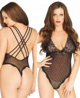 89199 Leg Avenue, Stretch point d esprit thong back teddy
