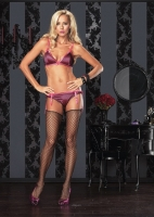 81299 Leg Avenue Lingerie, Satin bra with fishnet overlay and matchin