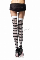 6502 Leg Avenue Stockings,  Striped thigh highs with woven skull