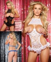 96512 Shirley stretch lace open bust teddy